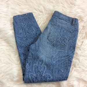 Vintage America Floral Print Blue Skinny Jeans 6